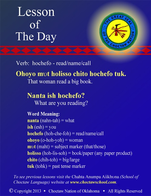 Verb: hochefo - read/name/call