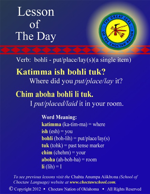 Verb: bohli - put/place/lay(s)(a single item)