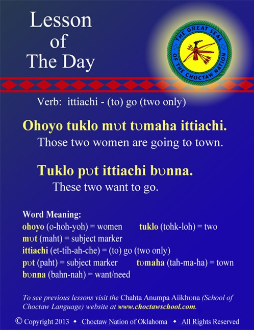 Verb: ittiachi - (to) go (two only)