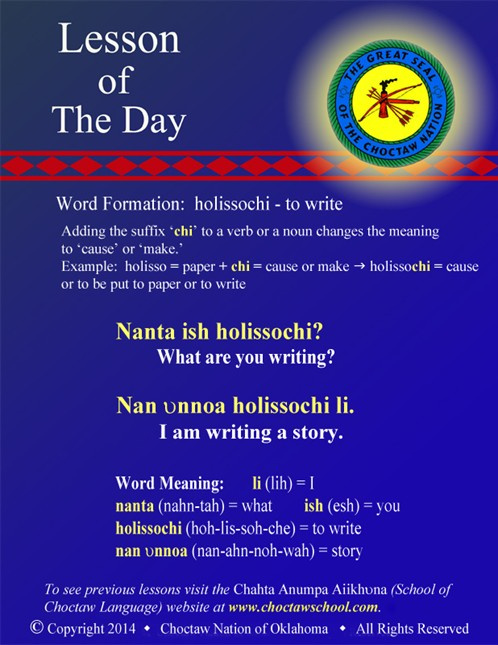 Word Formation: holissochi - to write