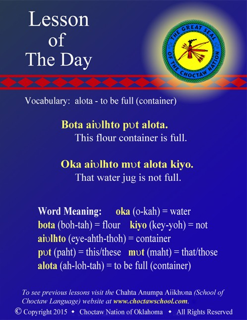 Vocabulary: alota - to be full (container)