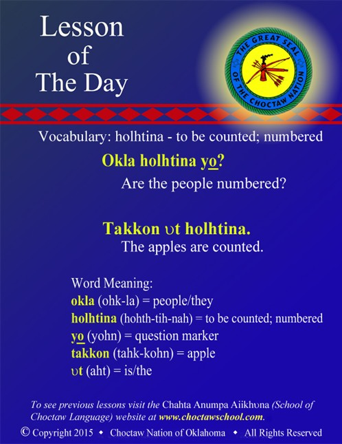Vocabulary: holhtina - to be counted; numbered