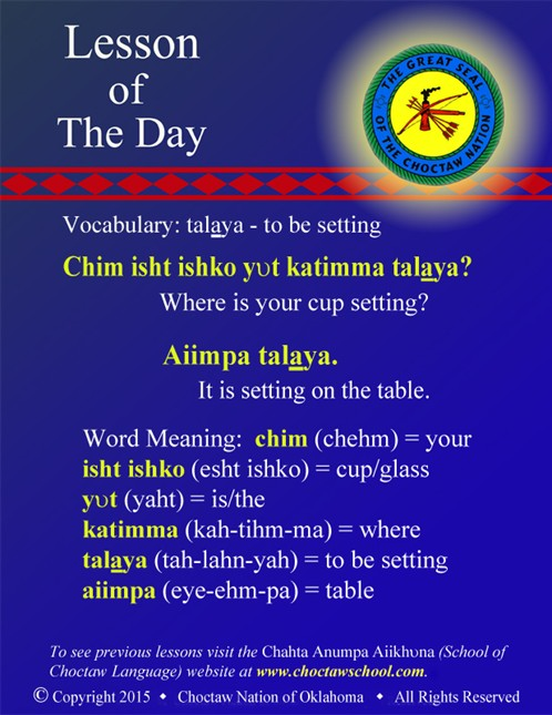 Vocabulary: - talaya - to be setting