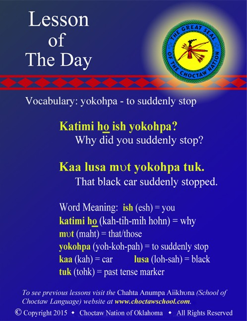 Vocabulary: yokohpa - to suddenly stop