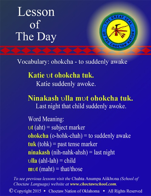 Vocabulary: ohokcha - to suddenly awake