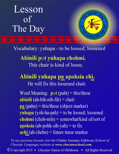 Vocabulary: yuhapa - to be loosed; loosened