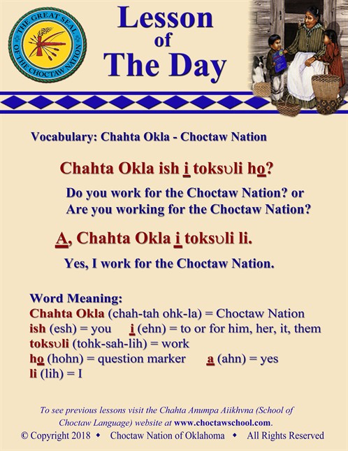 Vocabulary Chahta Okla