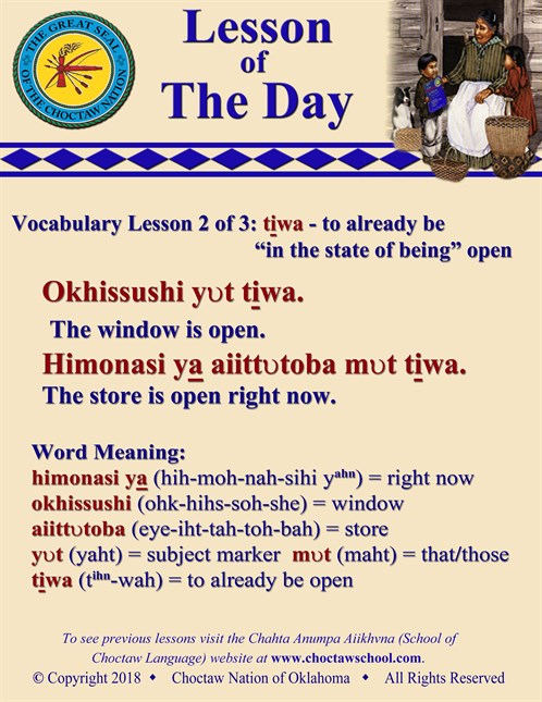 Vocabulary Lesson 2 Of 3 Tiwa To Already Be Open