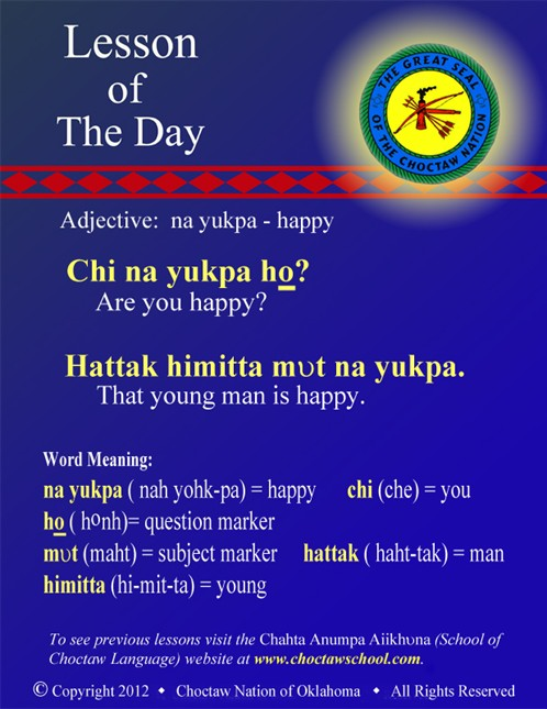 Adjective: na yukpa - happy