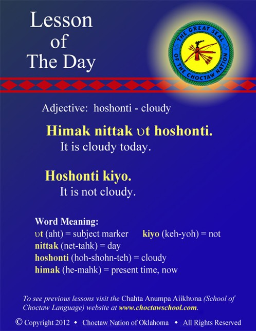 Adjective: hoshonti - cloudy